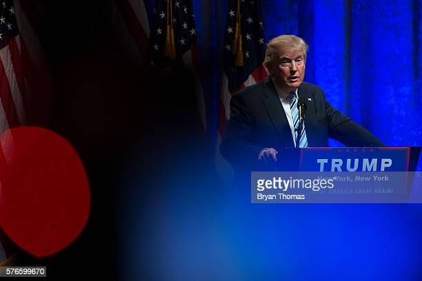 Republican presidential candidate Donald Trump speaks before announcing his vice presidential running mate Indiana Gov Mike Pence at the New York...