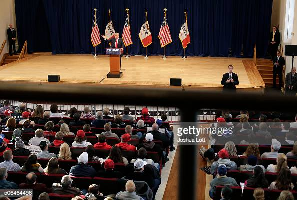 Republican presidential candidate Donald Trump speaks during a campaign event January 23 2016 in Pella Iowa Trump who is seeking the nomination from...