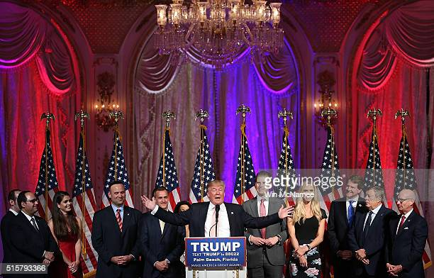 Republican presidential candidate Donald Trump speaks during a primary night event at the MarALago Club's Donald J Trump Ballroom March 15 2016 in...