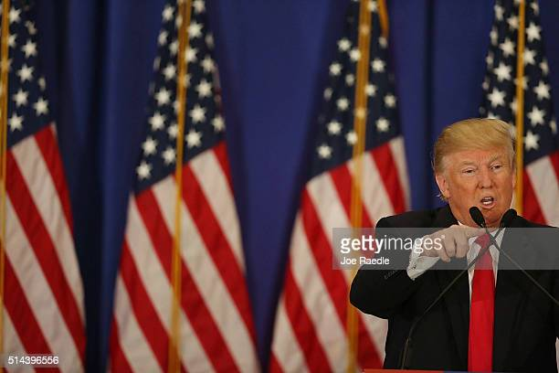 Republican presidential candidate Donald Trump speaks during a press conference at the Trump National Golf Club Jupiter on March 8 2016 in Jupiter...