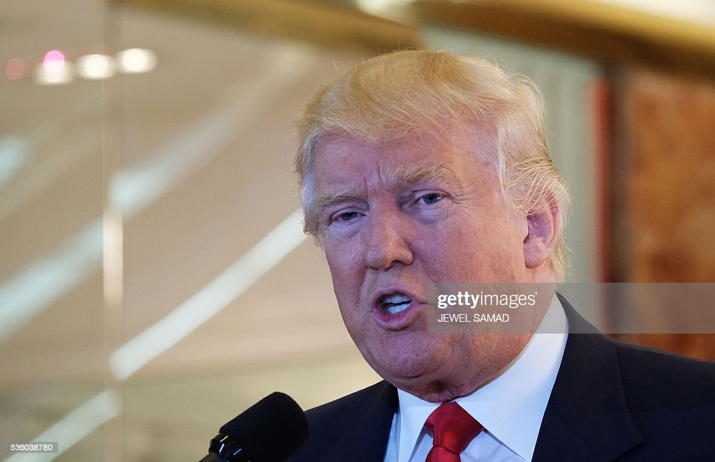 US Republican presidential candidate Donald Trump speaks during a press conference at the Trump Tower on May 31, 2016 in New York. / AFP / Jewel SAMAD