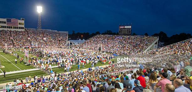 Republican presidential candidate Donald Trump speaks during a rally at LaddPeebles Stadium on August 21 2015 in Mobile Alabama The Trump campaign...