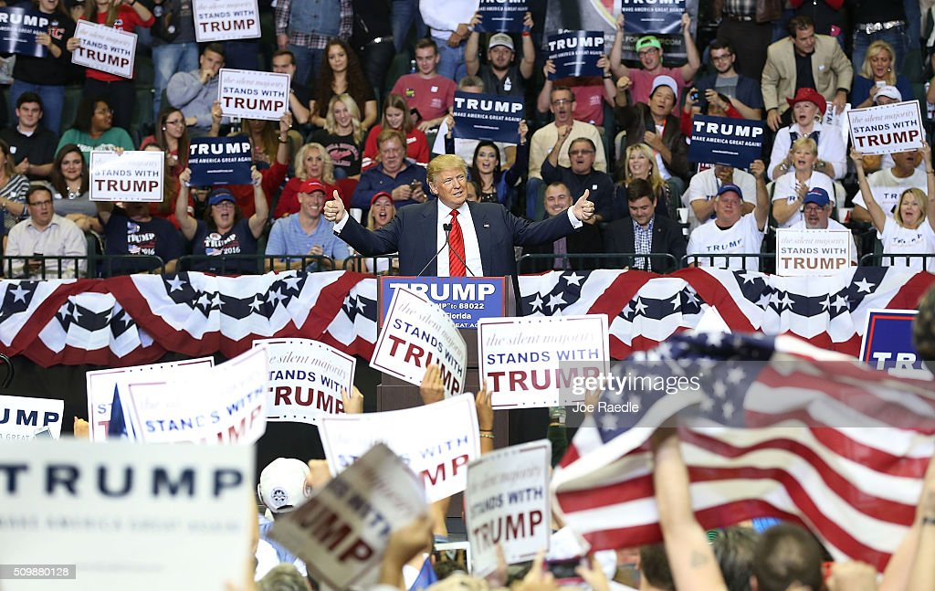 Republican presidential candidate <a gi-track='captionPersonalityLinkClicked' href=/galleries/search?phrase=Donald+Trump+-+Born+1946&family=editorial&specificpeople=118600 ng-click='$event.stopPropagation()'>Donald Trump</a> speaks during a campaign rally at the University of South Florida Sun Dome on February 12, 2016 in Tampa, Florida. The process to select the next Democratic and Republican Presidential candidate continues.