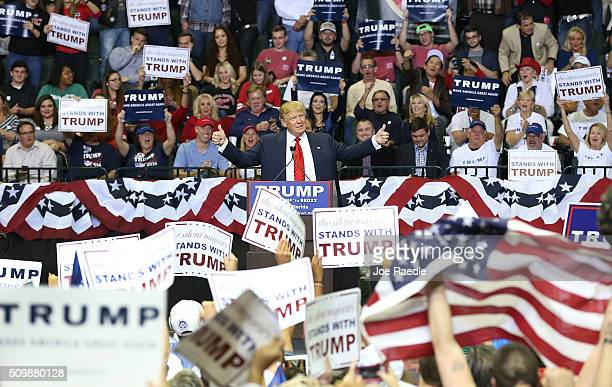 Republican presidential candidate Donald Trump speaks during a campaign rally at the University of South Florida Sun Dome on February 12 2016 in...