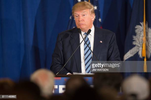 Republican presidential candidate Donald Trump speaks during a campaign rally in Kiawah South Carolina February 17 2016 Trump cannot claim to be a...