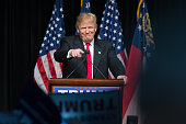 Republican presidential candidate Donald Trump speaks during a campaign rally at the Georgia World Congress Center Sunday February 21 2016 in Atlanta...