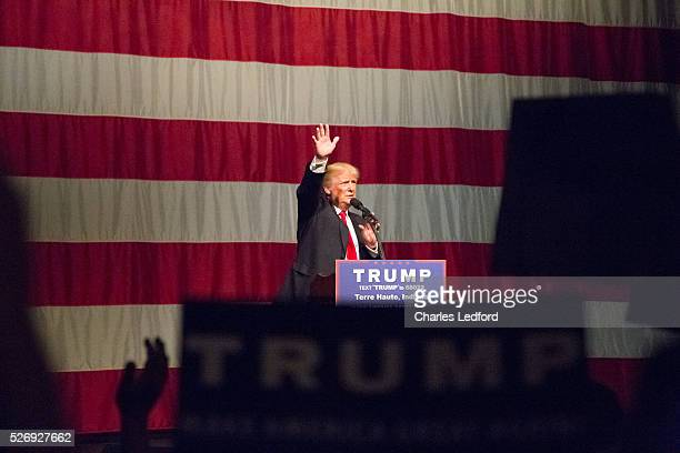 Republican presidential candidate Donald Trump speaks during a rally at the Indiana Theater on May 1 2016 in Terre Haute Indiana Trump is campaigning...