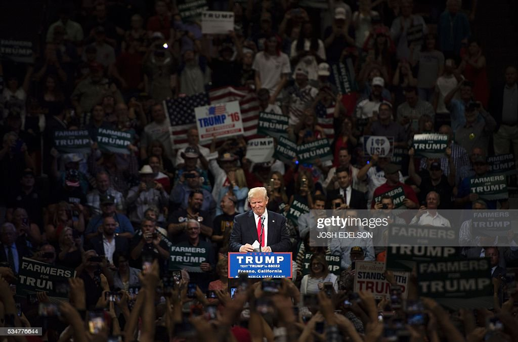 Republican presidential candidate Donald Trump speaks during a rally in Fresno, California on May 27, 2016. / AFP / JOSH