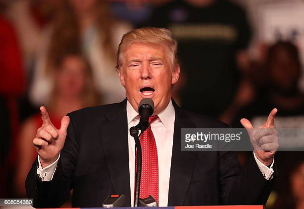 Republican presidential candidate Donald Trump speaks during a campaign rally at the Germain Arena on September 19 2016 in Estero Florida Trump is...