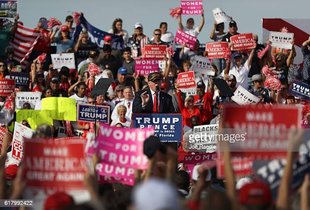 Republican presidential candidate Donald Trump speaks during a campaign rally at the Million Air Orlando which is at Orlando Sanford International...