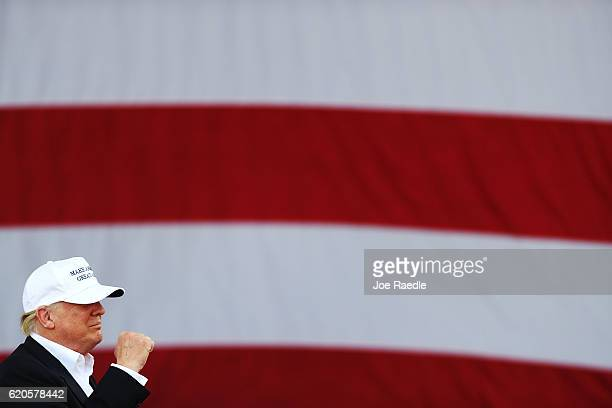 Republican presidential candidate Donald Trump speaks during a campaign rally at the Bayfront Park Amphitheater on November 2 2016 in Miami Florida...