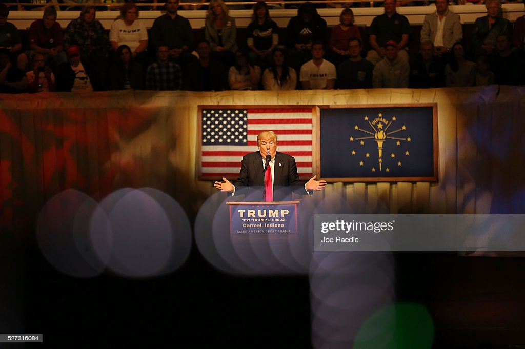 Republican presidential candidate <a gi-track='captionPersonalityLinkClicked' href=/galleries/search?phrase=Donald+Trump+-+Born+1946&family=editorial&specificpeople=118600 ng-click='$event.stopPropagation()'>Donald Trump</a> speaks during a campaign stop at the Palladium at the Center for the Performing Arts on May 2, 2016 in Carmel, Indiana. Trump continues to campaign leading up to the Indiana primary on May 3.