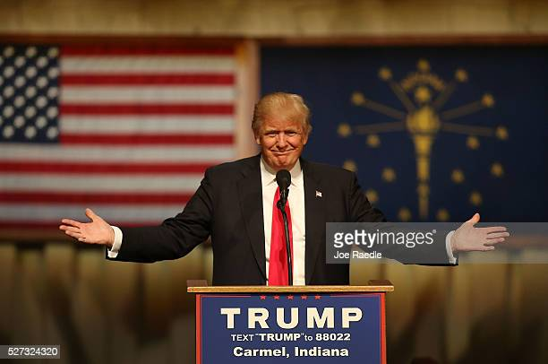 Republican presidential candidate Donald Trump speaks during a campaign stop at the Palladium at the Center for the Performing Arts on May 2 2016 in...