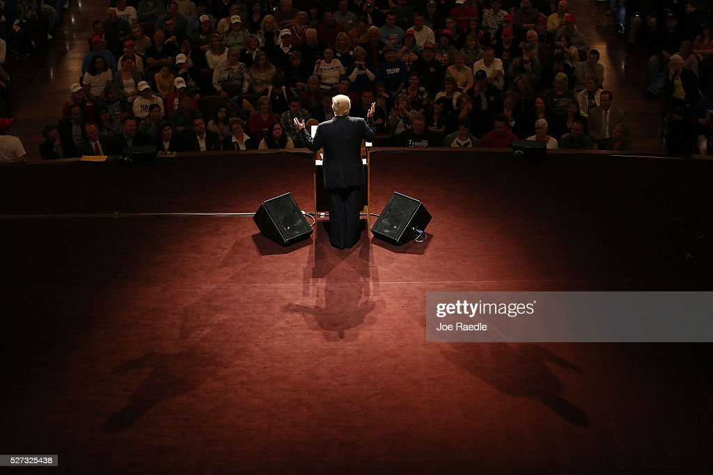 Republican presidential candidate Donald Trump speaks during a campaign stop at the Palladium at the Center for the Performing Arts on May 2, 2016 in Carmel, Indiana. Trump continues to campaign leading up to the state of Indiana's primary day on Tuesday.