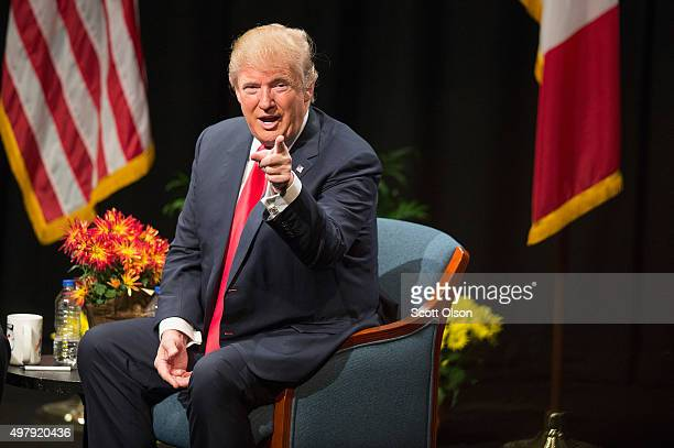 Republican presidential candidate Donald Trump speaks during a town hall meeting during a campaign stop at Des Moines Area Community College Newton...