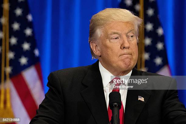Republican Presidential candidate Donald Trump speaks during an event at Trump SoHo Hotel June 22 2016 in New York City Trump's remarks focused on...