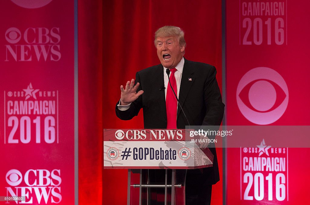 Republican presidential candidate Donald Trump speaks during the CBS News Republican Presidential Debate in Greenville, South Carolina, February 13, 2016. / AFP / JIM WATSON