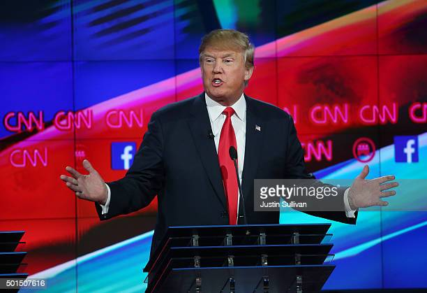 Republican presidential candidate Donald Trump speaks during the CNN Republican presidential debate on December 15 2015 in Las Vegas Nevada This is...
