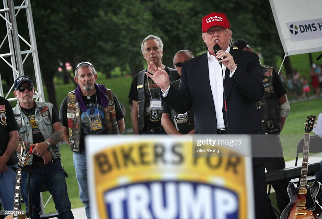 Republican presidential candidate Donald Trump speaks during the annual Rolling Thunder First Amendment Demonstration Run May 29, 2016 in Washington, DC. Bikers are gathering in the annual parade in the nation's capital to remember those who were prisoners of war and missing in action on Memorial Day weekend.
