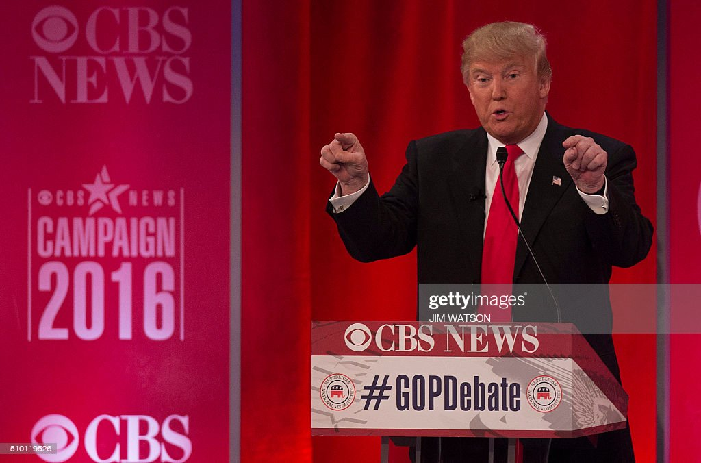 Republican presidential candidate Donald Trump speaks the CBS News Republican Presidential Debate in Greenville, South Carolina, February 13, 2016. / AFP / JIM WATSON