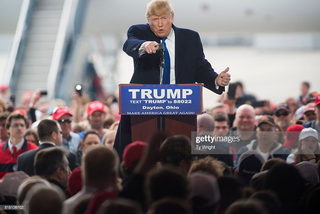 Republican Presidential candidate Donald Trump speaks to attendants at a Campaign Rally on March 12 2016 in Vandailia Ohio Today was the first rally...