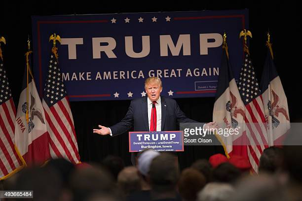 Republican presidential candidate Donald Trump speaks to guests at a campaign rally at Burlington Memorial Auditorium on October 21 2015 in...