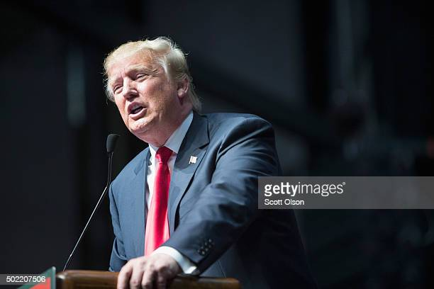 Republican presidential candidate Donald Trump speaks to guests at a campaign rally on December 21 2015 in Grand Rapids Michigan The fullhouse event...
