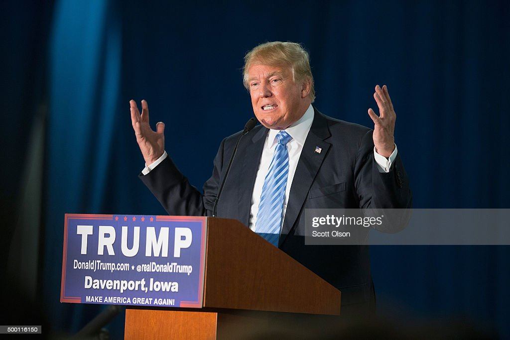 Republican presidential candidate Donald Trump speaks to guests gathered for a campaign event at Mississippi Valley Fairgrounds on December 5 2015 in...