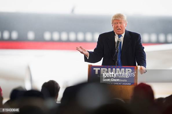 Republican presidential candidate Donald Trump speaks to guests gathered for a rally at the Central Illinois Regional Airport on March 13 2016 in...