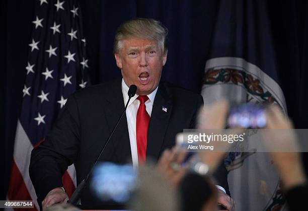 Republican presidential candidate Donald Trump speaks to supporters during a campaign rally December 2 2015 in Manassas Virginia Trump continued to...