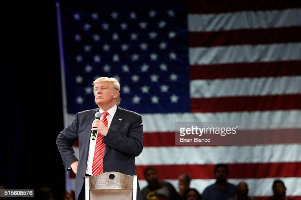 Republican presidential candidate Donald Trump speaks to supporters during a town hall meeting on March 14 2016 at the Tampa Convention Center in...