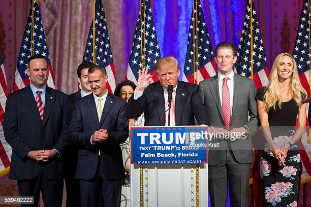 Republican presidential candidate Donald Trump speaks to supporters inside the Donald J Trump Ballroom at MarALago Club in Palm Beach Florida after...