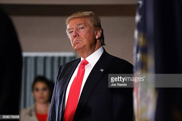Republican Presidential candidate Donald Trump speaks to the media before a campaign event at Hampshire Hills Athletic Club on February 2 2016 in...