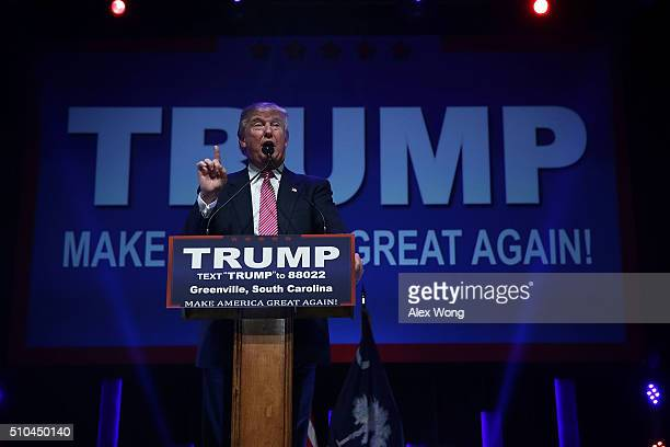 Republican presidential candidate Donald Trump speaks to voters during a campaign event February 15 2016 in Greenville South Carolina Trump continued...