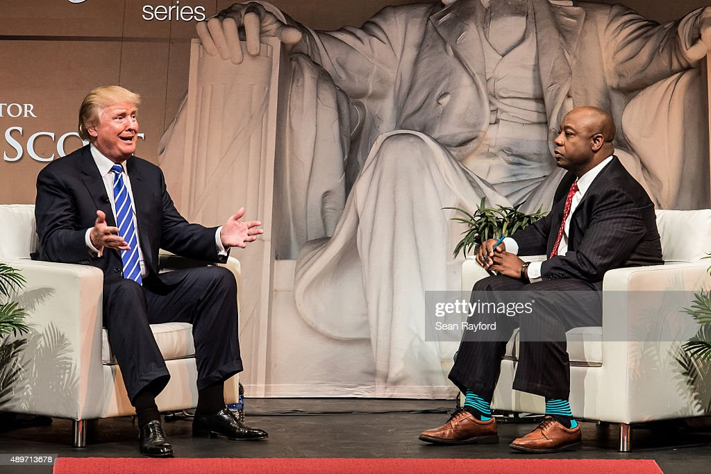 Republican presidential candidate Donald Trump speaks to voters with U.S. Sen. <a gi-track='captionPersonalityLinkClicked' href=/galleries/search?phrase=Tim+Scott+-+Pol%C3%ADtico&family=editorial&specificpeople=12898323 ng-click='$event.stopPropagation()'>Tim Scott</a> (R-SC) at a campaign event September 23, 2015 in Columbia, South Carolina. Earlier today, Trump tweeted 'FoxNews has been treating me very unfairly & I have therefore decided that I won't be doing any more Fox shows for the foreseeable future.'