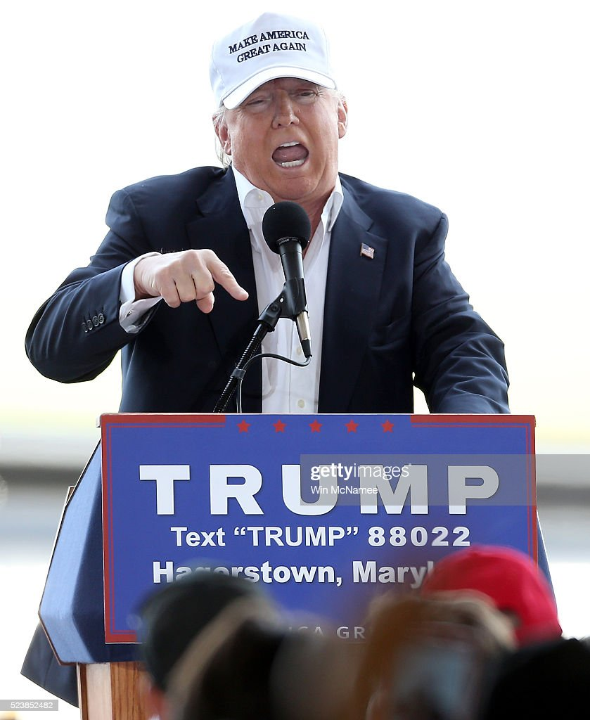 Republican presidential candidate Donald Trump speaks while campaigning at the Hagerstown airport April 24, 2016 in Hagerstown, Maryland. Maryland holds their presidential primary on Tuesday, along with Delaware, Pennsylvania, Rhode Island and Connecticut.