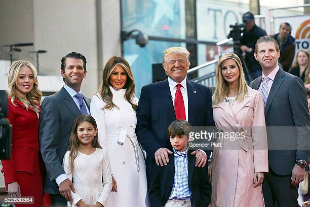 Republican presidential candidate Donald Trump stands with his wife Melania Trump and from right Eric Trump Ivanka Trump Donald Trump Jr and Tiffany...