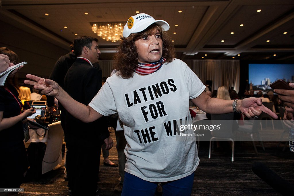 Republican presidential candidate Donald Trump supporter Luisa Aranda speaks with members of the press during the California Republican Party Convention on April 29, 2016 in Burlingame, California. Trump is preparing for the California Primary on June 7.