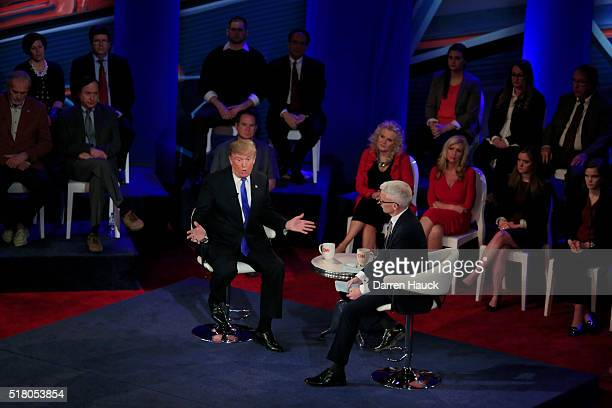 Republican Presidential candidate Donald Trump takes part in a town hall event moderated by Anderson Cooper March 29 2016 in Milwaukee Wisconsin...