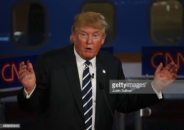 Republican presidential candidate Donald Trump takes part in the presidential debates at the Reagan Library on September 16 2015 in Simi Valley...