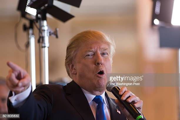 Republican presidential candidate Donald Trump talks about the media before being interviewed by Bill O'Rielly during his rally at PhoenixMesa...