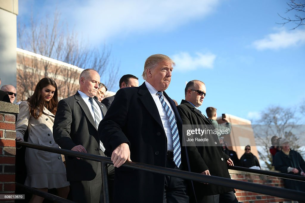 Republican presidential candidate Donald Trump visits a polling station as voters cast their primary day ballots on February 9, 2016 in Manchester, New Hampshire. The process to select the next Democratic and Republican Presidential candidates continues.