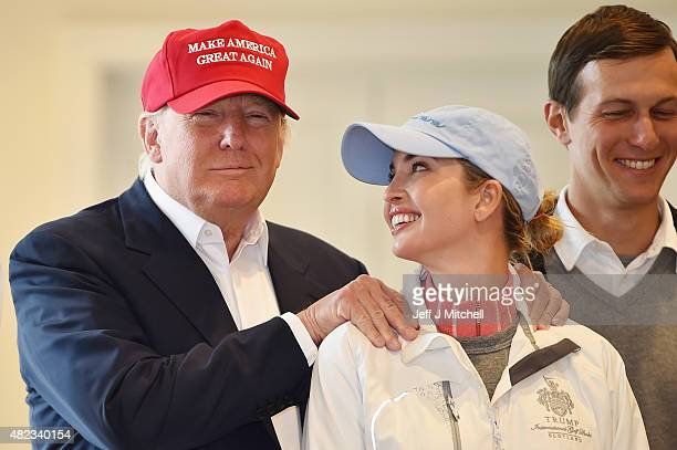 Republican Presidential Candidate Donald Trump visits his Scottish golf course Turnberry with his daughter Ivanka Trump on July 30 2015 in Ayr...