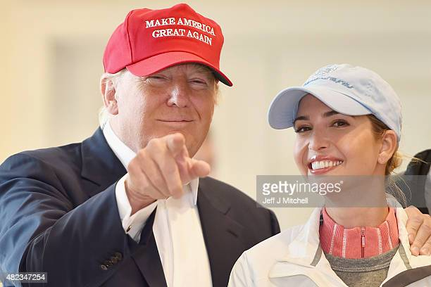 Republican Presidential Candidate Donald Trump visits his Scottish golf course Turnberry with his children Ivanka Trump and Eric Trump on July 30...