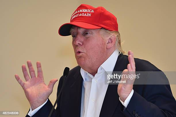 Republican Presidential Candidate Donald Trump visits his Scottish golf course Turnberry on July 30 2015 in Ayr Scotland Donald Trump answered...
