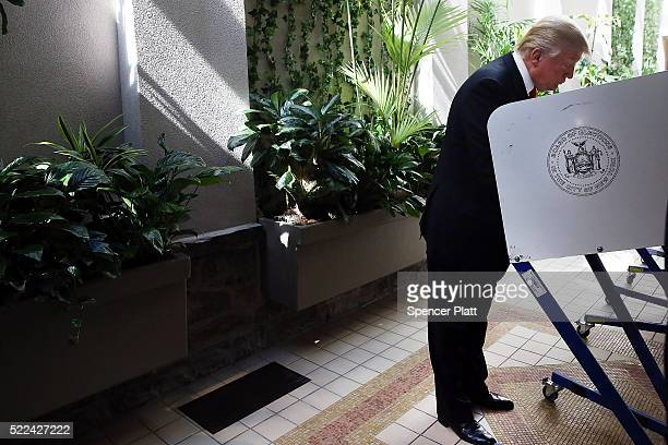 Republican Presidential candidate Donald Trump votes at his local polling station in New York's primary on April 19 2016 in New York City Trump is...
