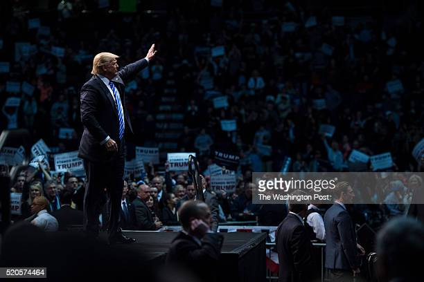 Republican presidential candidate Donald Trump waves as he finishes speaking during a campaign event at the Times Union Center in Albany NY on Monday...