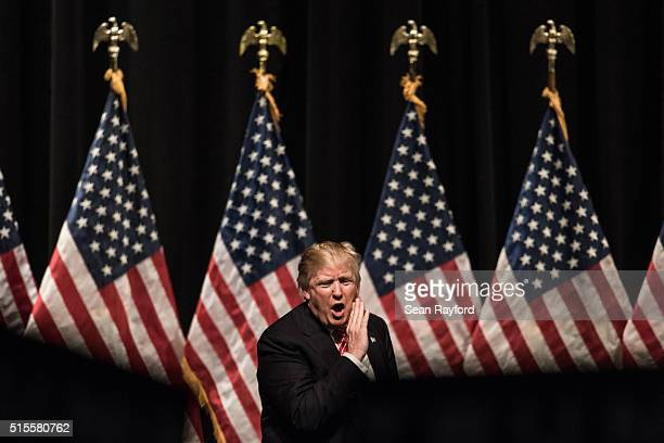 Republican presidential candidate Donald Trump yells into the crowd at the conclusion of a campaign rally at LenoirRhyne University March 14 2016 in...