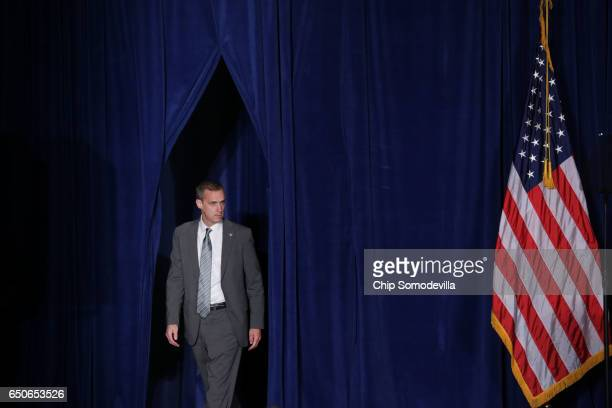 Republican presidential candidate Donald Trump's campaign manager Corey Lewandowski arrives before Trump delivers a speech about his vision for...