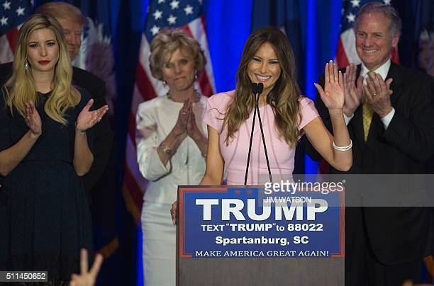 Republican presidential candidate Donald Trump's wife Melania Trump speaks as they celebrate victory in the South Carolina primary on February 20...